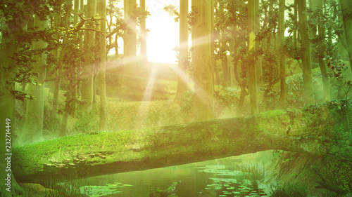 Papiers peints Forets fallen tree, natural bridge in magical forest, intense sunshine in fantasy forest landscape