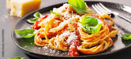 Fototapeta Pasta with tomato sauce and parmesan obraz