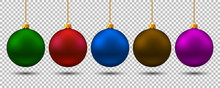 Set Christmas Ball. New Year Toy - Stock Vector