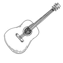 Sketch Of A Guitar. Vector Ill...
