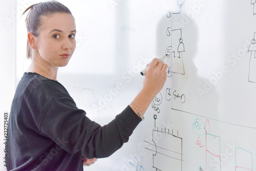 Young female student writting on the chalkboard and looking at the camera.