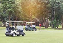 Golf Carts Parked On Green Fai...