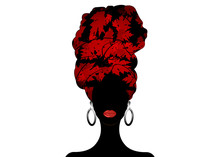 African Scarf, Portrait Afro Woman In A Red Leaves Turban. Tribal Wrap Fashion, Ankara, Kente, Kitenge. Nigerian Style Dresses. Ghanaian Headwrap. African Print Fabric, Ethnic Handmade Textile