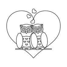 Owls In Love Cute Cartoons Black And White