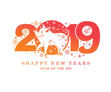 Year Of The Pig 2019. New Years Pattern 2019 And Smiling Cute Pig And Snowflakes. Vector Template New Year's Design On The Chinese Calendar.