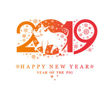 Walking Pig In Snowflakes In The New Year 2019. Flat Pattern 2019 And Smiling Cute Pig And Snowflakes. Vector Template New Year's Design On The Chinese Calendar.