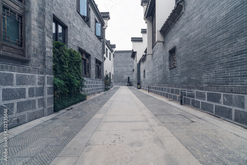 Empty road near vintage building in Nanjing