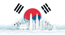 South Korea Flag And Famous Landmarks In Paper Cut Style Vector Illustration.