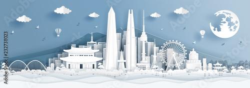 Plakaty do gabinetu panorama-postcard-of-world-famous-landmarks-of-korea-in-paper-cut-style-vector-illustration