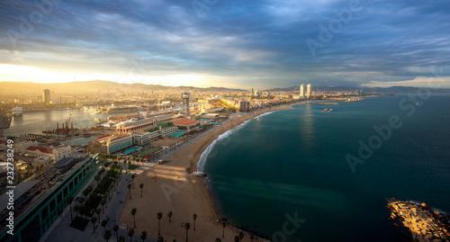 Foto op Canvas Barcelona Barcelona beach on morning sunrise