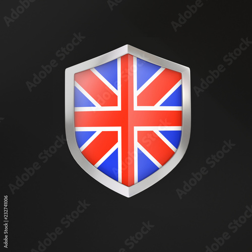Fotografie, Obraz  3D shield with the flag of Great Britain