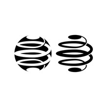 Intertwine In A Spiral Logo Structure The Black And White Spherical Shape, Abstract Circle Logotype For Technology Company, Tech Icon Mockup