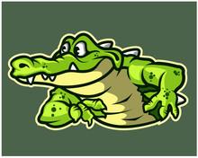 Funny Gator Cartoon Logo Mascot