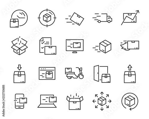 Fotografía set of send icons, such as delivery, transport, mail, service