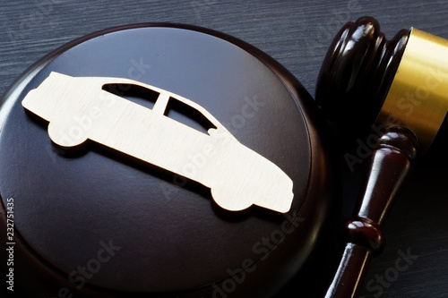Model of car and gavel Canvas Print