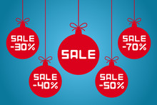 Christmas Balls With SALE And  30, 40, 50, 70 Percent Inscriptions. Vector Illustration.