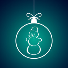 Christmas Ball With Snowman Pattern. Vector Illustration.