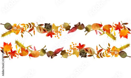 Fototapeta 秋の落葉イラスト ヘッダーライン