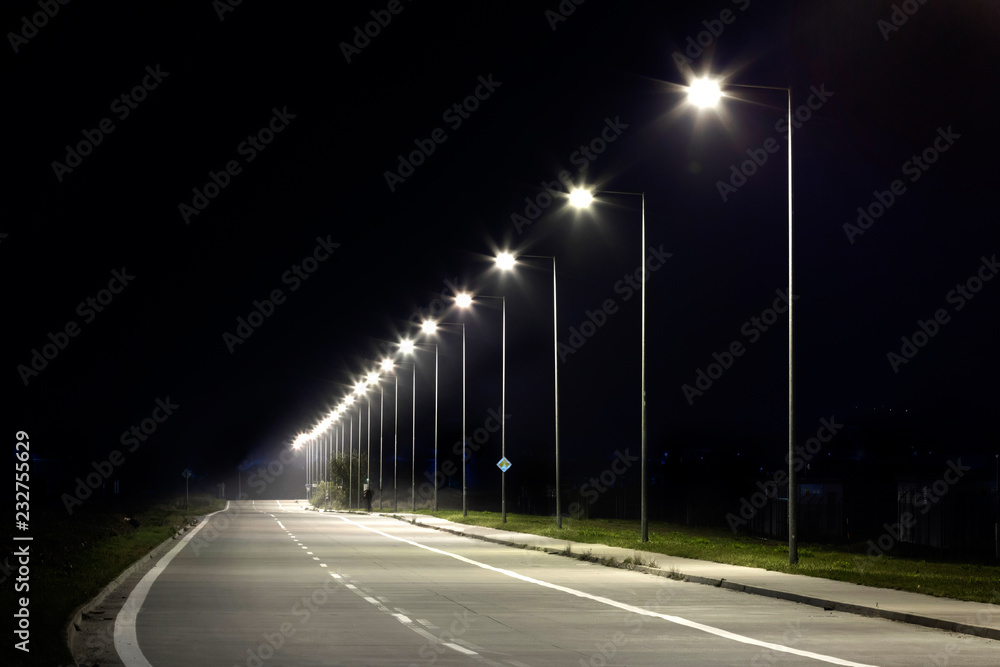 Fototapety, obrazy: night empty road with modern LED street lights