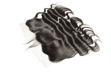 Body Wave Wavy Black Human Hair Weaves Extensions Lace Frontal Closure