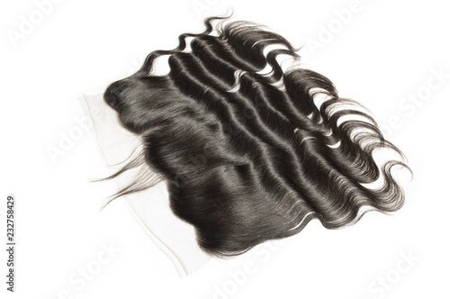 Photo  Body wave wavy black human hair weaves extensions lace frontal closure