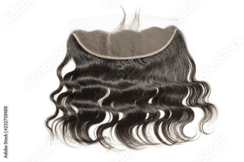 Fotografie, Obraz  Body wave wavy black human hair weaves extensions lace frontal closure