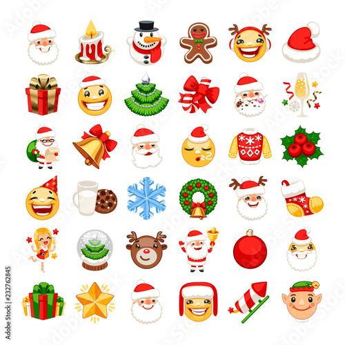 Christmas Emojis Set Canvas Print