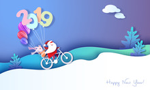 2019 Happy New Year Design Card With Santa And Elf