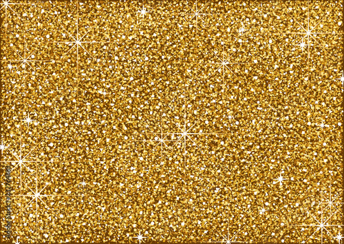 Photo  Shining Golden Glitter Background with Stars - Metallic Colored Illustration for