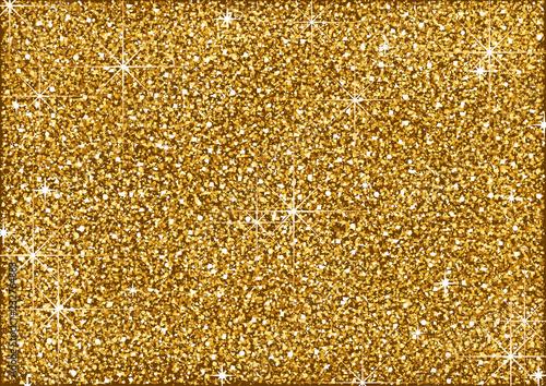 Valokuva Shining Golden Glitter Background with Stars - Metallic Colored Illustration for