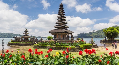 Flowers in front of the Ulun Danu buddhist temple on Bali, Indonesia