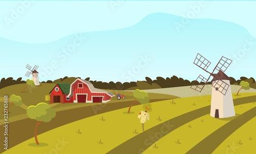 Poster Turquoise Vector concept image farming rural landscape