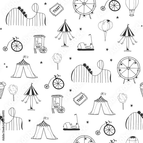 Leinwand Poster Hand drawn amusement park elements