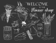 Hand Drawn Flower Shop Elements. Graphic Vector Set. Chalk Style. Black Background