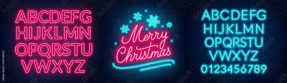 Fototapety, obrazy: Neon sign merry christmas on a dark background with bright alphabets.