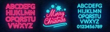 Neon Sign Merry Christmas On A...