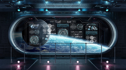 Fototapeta Dark spaceship interior with control panel digital screens 3D rendering
