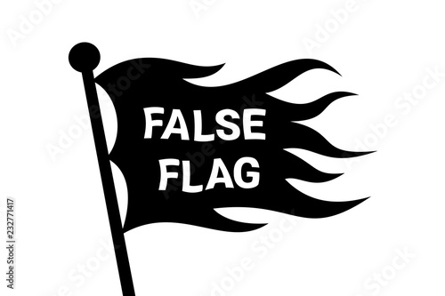 Fényképezés  Wavy False flag on the pole - covert identity as method of deception and cheating