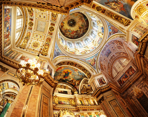 Saint Petersburg, Russia - August 5, 2018: Detail of interior of Saint Isaac's Cathedral or Isaakievskiy Sobor
