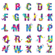 Vector Trendy Letters Alphabet Painted By Color Paint Splashes Font.