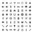 Web and mobile icons set on white background.