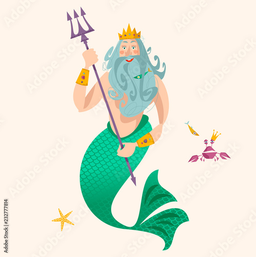 Canvas-taulu God of freshwater, sea and ocean Neptune (Poseidon).