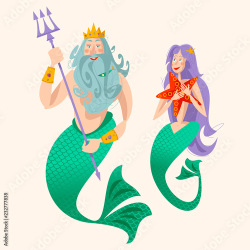 Valokuva God of freshwater, sea and ocean Neptune (Poseidon) and a mermaid