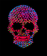 Vivid Colors Skull Icon, Artistic Neon Background With Dots