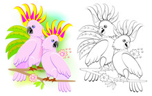 Fantasy Illustration Of Couple Of Romantic Cockatoo Parrots. Colorful And Black And White Page For Coloring Book. Worksheet For Children And Adults. Drawing For Wedding Postcard. Vector Cartoon Image.