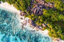 Aerial View Of Anse Source D'Argent Beach, La Digue Island, Seychelles, Africa