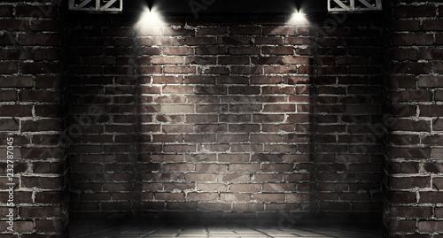 Foto op Plexiglas Background of a dark room with brick walls and concrete floor. Neon light, spotlight, smoke, fog, smog