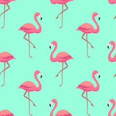 Pink flamingos seamless pattern