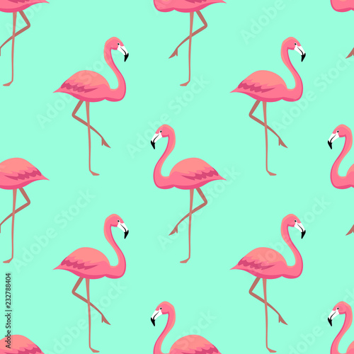 Pink flamingos seamless pattern Canvas Print