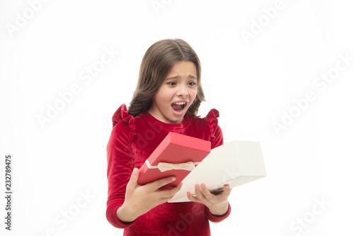 Small cute girl received holiday gift Tapéta, Fotótapéta